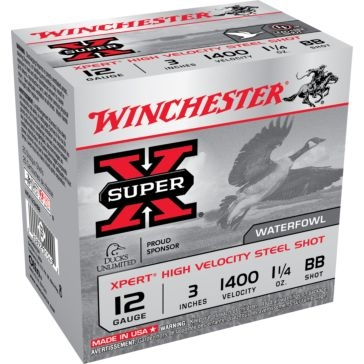"Winchester Super-X XPert High Velocity Steel Shot 12ga 3"" 1-1/4oz BB-Shot"