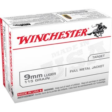 Winchester Target 9mm Luger 115 GR. Full Metal Jacket 100RD