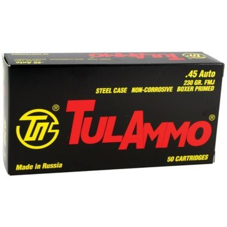 TulAmmo Centerfire Pistol Cartridges 45 Auto 230 GR FMJ 50RD