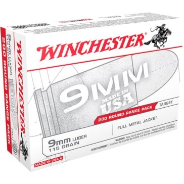 Winchester USA 9mm Luger 115 GR FMJ 200RD
