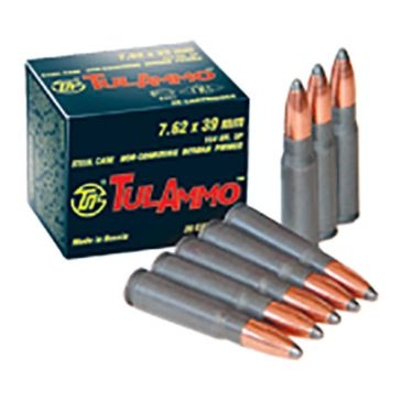TulAmmo Centerfire Rifle Cartridges 7.62×39mm FMJ 122 GR 40RD
