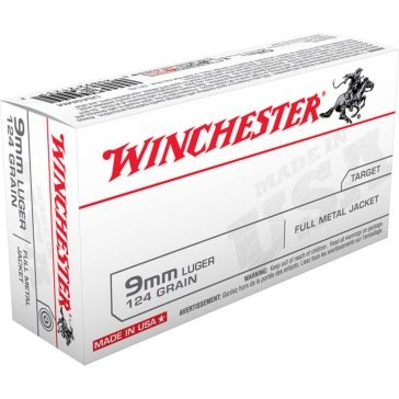Winchester USA 9mm Luger 124 GR FMJ 50RD