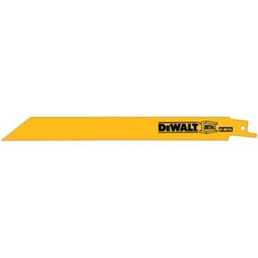 "Dewalt 8"" 14 TPI Straight Back Bi-Metal Reciprocating Blade (5 pack) DW4809"