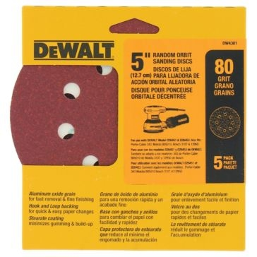 "Dewalt 5"" 8 Hole 80 Grit Hook and Loop Random Orbit Sandpaper (5 pack) DW4301"