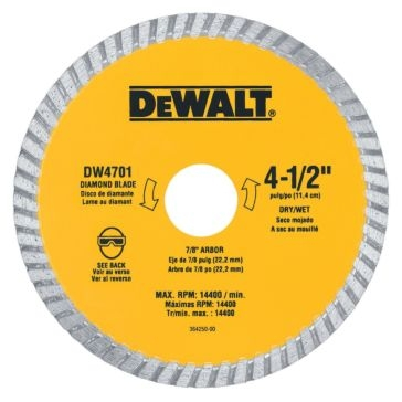 "Dewalt 4-1/2"" XP turbo diamond blade DW4701"