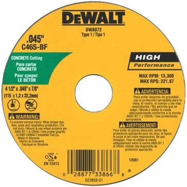 "Dewalt 4"" x .045"" x 5/8"" metal and stainless cutting wheel DW8072"