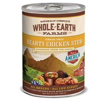 Whole Earth Farms Grain Free Hearty Chicken Stew Recipe Wet Dog Food 12.7oz