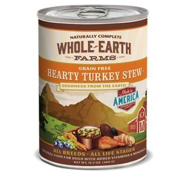 Whole Earth Farms Grain Free Hearty Turkey Stew Recipe Wet Dog Food 12.7oz