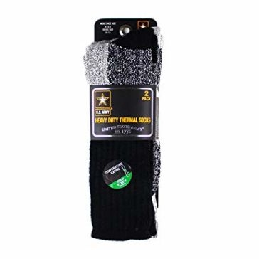 U.S. Army Heavy Duty Thermal Boot Sock 2pk Black & White