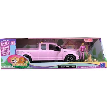 New Ray Toys USA Pink Ford F150 W/ Dogs & Accessories 1:14 Ages 3+