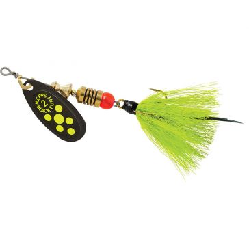 Mepps Dressed Treble Black Fury Lure 1/6oz Chartreuse Dot Blade w/Grey/Chartreuse Tail