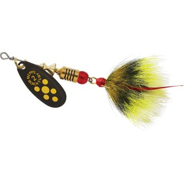Mepps Dressed Treble Black Fury Lure 1/6oz Yellow Dot Blade w/Grey/Yellow Tail
