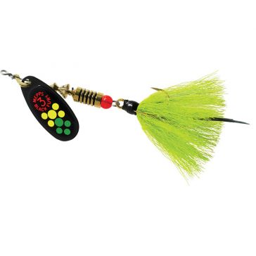 Mepps Dressed Treble Black Fury Lure 1/4oz Hot Firetiger Dot Blade w/Chartreuse Tail