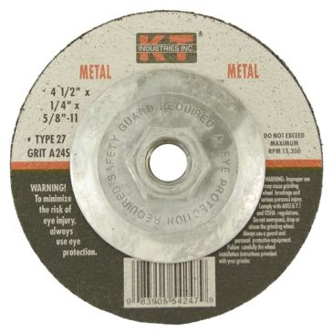 K-T Industries 4-1/2 X 1/4 X 5/8-11 Metal Grinding Wheel 5-4247