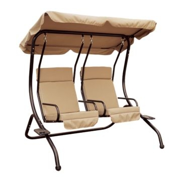 Luxury Double 2-seat Padded Swing with Canopy
