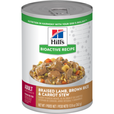 Hill's Bioactive Recipe Adult Braised Lamb, Brown Rice & Carrot Stew dog food