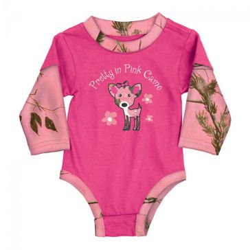Buck Wear Kids Infant Bodysuit Pretty in Pink Camo 3560