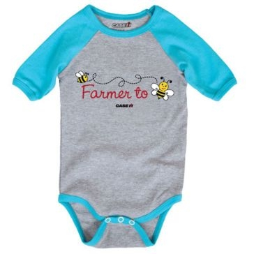Case IH Boys Infant Farmer to Bee Athletic Heather Turquoise Raglan Bodyshirt