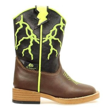 DBL Barrel Kid Zip Ace Lightning Bolt Cowboy Boots