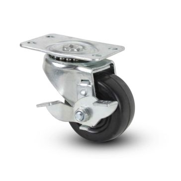 Hard Rubber Swivel Plate Caster with Brake 2""