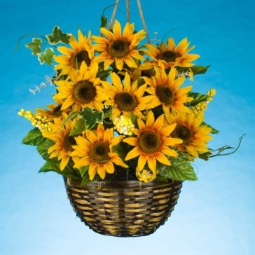 "Gerson Companies 18"" Wicker Sunflower Basket"