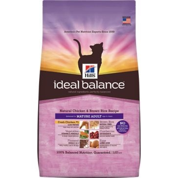 Hill's Ideal Balance Natural Chicken & Brown Rice Recipe Mature Adult Dry Cat Food