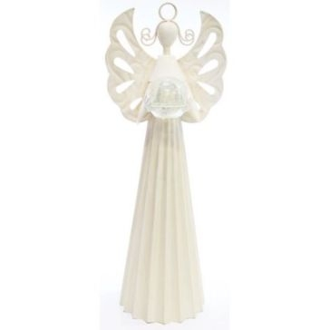 White Angel Statue With LED Glass Ball Light