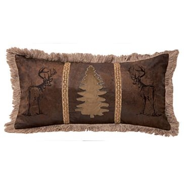 Carstens Bucks and Tree Rustic Faux Leather Pillow