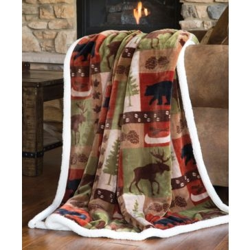 Carstens Patchwork Lodge Plush Throw