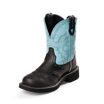 Justin Womens Black Gypsy Cowgirl Boots with Light Blue Top