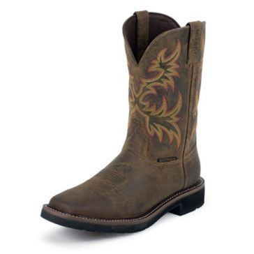 Justin Mens Rugged Cowhide Stampede Waterproof Cowboy Boots