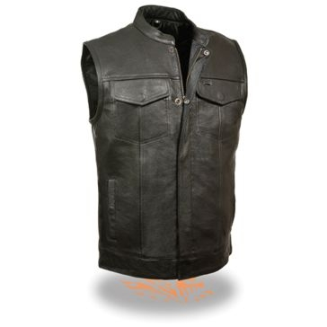 Milwaukee Leather Mens Snap/Zip Front Club Vest Black