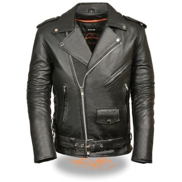 Milwaukee Leather Mens Side Lace Jacket Police Style Black