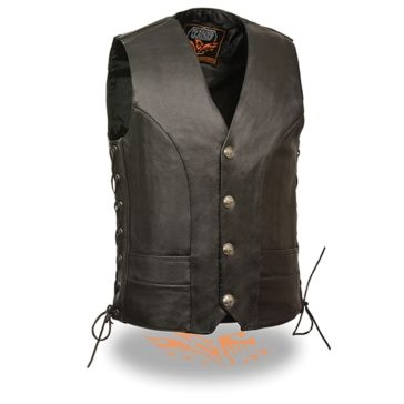 Milwaukee Leather Mens Side Lace Vest w/Buffalo Snaps Black