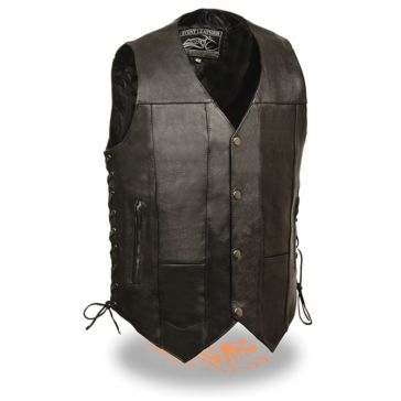 Milwaukee Leather Mens Side Lace Vest 10-Pocket Black
