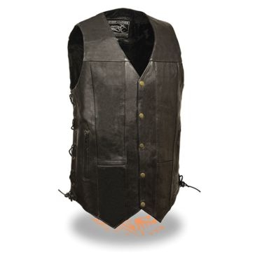 Milwaukee Leather Mens Side Lace Vest 10-Pocket Black Tall