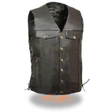 Milwaukee Leather Mens Side Lace Vest w/Denim Style Pockets Black