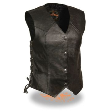 Milwaukee Leather Womens Side Lace 4-Snap Vest Black