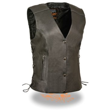 Milwaukee Leather Womens Side Lace Vest w/Relfective Piping Black