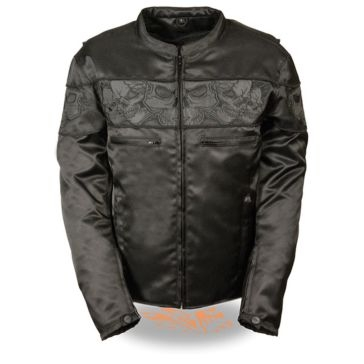 Milwaukee Leather Mens Reflective Skulls Textile Jacket BLK