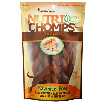 "Nutri Chomps 6"" Braid  Chicken Flavor 4 Ct."