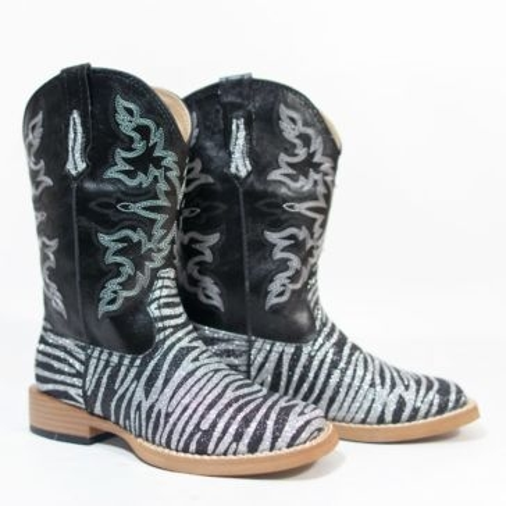 Roper Kids Glitter Zebra Square Toe Cowgirl Boots