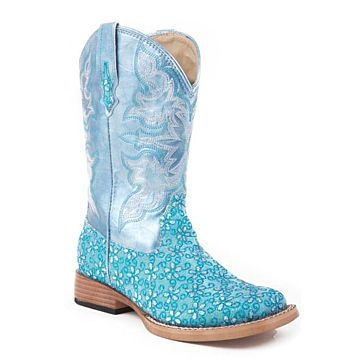 Roper Kids Glitter Floral Square Toe Cowgirl Boots