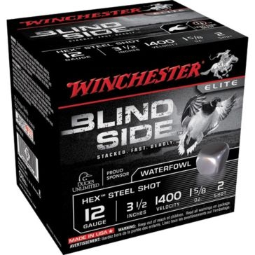 "Winchester Elite Blind Side Hex Steel Shot 12ga 3-1/2""  2-Shot"