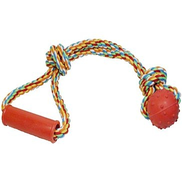 Scott Pet Rope Tug Toy with Handle and Rubber Ball