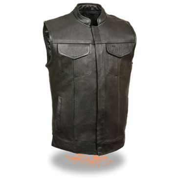 Milwaukee Leather Mens Club Vest w/Hidden Snaps Black