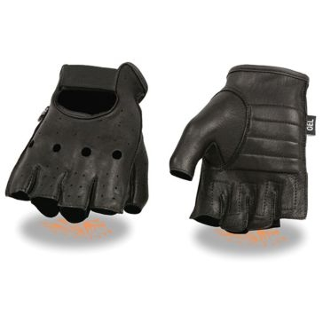Milwaukee Leather Mens Deerskin Fingerless Gloves KN BLK
