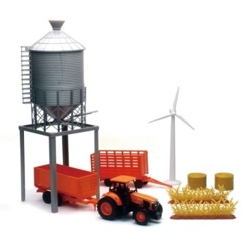 New Ray Kubota Farm Tractor & Grain Bin Tower Set