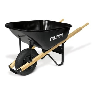 Truper 6 cu ft Single-Wheel Steel Tray Wheelbarrow