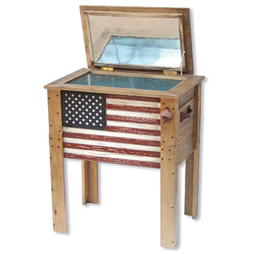 57 Quart American Flag Wooden Cooler